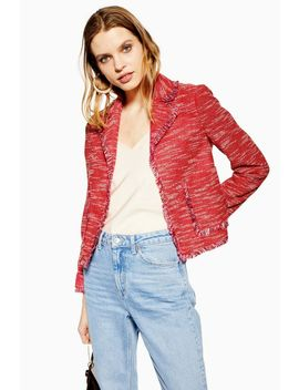 Red Fringe Jersey Boucle Jacket by Topshop