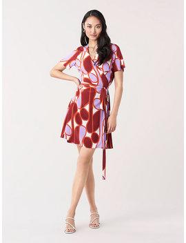 Savilla Silk Crepe De Chine Mini Wrap Dress by Dvf