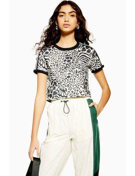 Leopard Print Three Stripe T Shirt By Adidas by Topshop