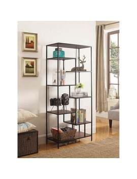 Dante Industrial Walnut And Black Bookcase by Generic