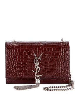 Saint Laurent Kate Monogram Ysl Small Tassel Croco Shoulder Bag by Saint Laurent