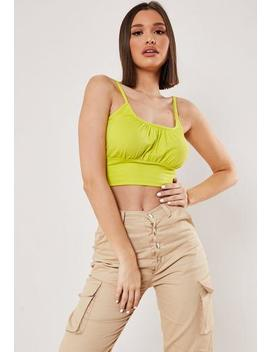 Lime Corset Ruched Crop Top by Missguided