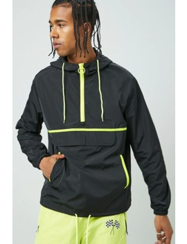 Contrast Trim Hooded Anorak by Forever 21