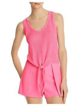 Jacinda Pointelle Tie Front Top by Alice And Olivia