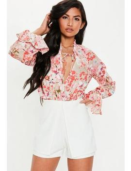 Pink Floral Wrap Bodysuit by Missguided