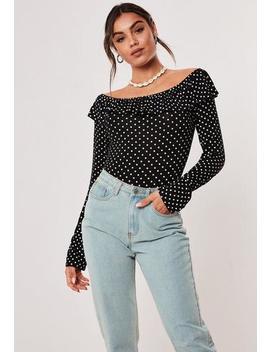 Black Polka Dot Ruffle Bardot Bodysuit by Missguided