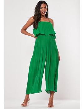 Green Plisse Overlay Strappy Jumpsuit by Missguided