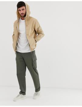 Bershka Join Life Windbreaker Jacket With Hood In Beige by Bershka