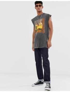 Asos Design Wu Tang Clan Oversized Sleeveless T Shirt With Acid Wash by Asos Design