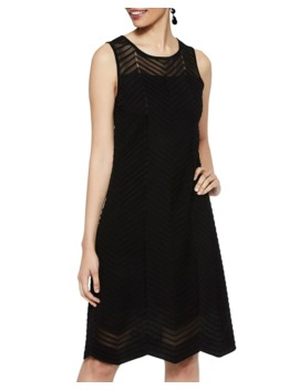 Sleeveless Textured Chevron A Line Dress by Misook