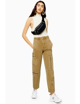 Sand Zip Utility Jeans by Topshop