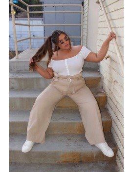 Plus Size Paperbag Wide Leg Pants by Forever 21