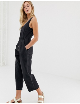 Asos Design Button Through Jumpsuit In Washed Black by Asos Design