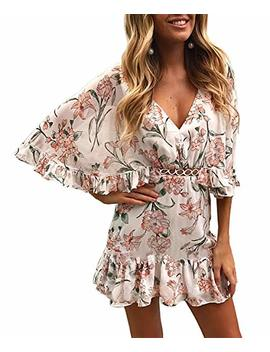Btfbm Women Fashion Floral Print V Neck Hollow Out High Waist Ruffle Boho Flowy Short Dress by Btfbm
