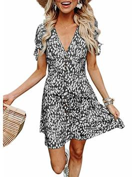 Btfbm Women Summer Printed V Neck Button Down Casual Party Short Dress With Tie Sleeve by Btfbm