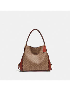 Edie Shoulder Bag 31 In Signature Canvas With Rivets by Coach