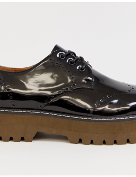 Asos Design Brogue Shoes In Black Faux Leather With Chunky Sole by Asos Design