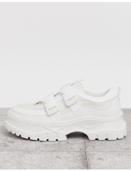 Asos Design Sneakers In White With Chunky Sole And Straps by Asos Design