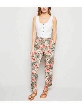 Petite Green Tropical Floral Joggers by New Look