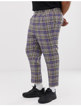 Asos Design Plus Tapered Crop Smart Pants In Gray And Blue Check With Metalwork by Asos Design