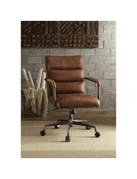 Acme Harith Executive Office Chair, Retro Brown Top Grain Leather by Acme