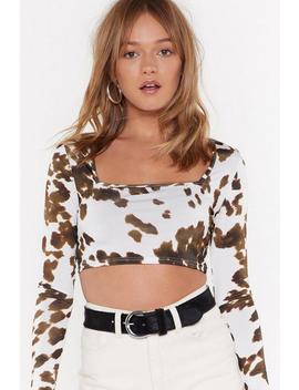 Cow Could I Forget Square Neck Top by Nasty Gal