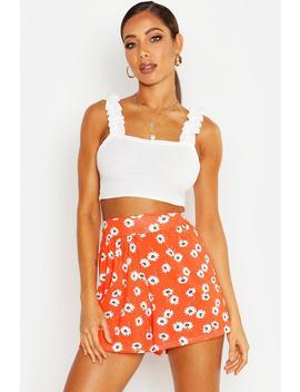 Daisy Print Jersey Flippy Shorts by Boohoo