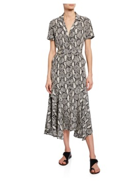 Clarkson Snake Print Midi Shirt Dress by A.L.C.