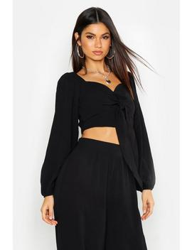 Tie Front Volume Sleeve Top by Boohoo