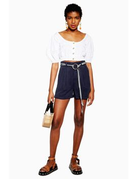 Navy Belted Lyocell Shorts by Topshop