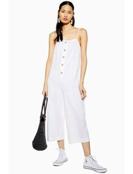 White Button Front Jumpsuit by Topshop