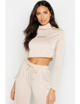 Woman Cropped Neck Sweat by Boohoo