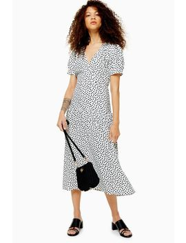 Petite Black And White Starlight Spot Smock Dress by Topshop
