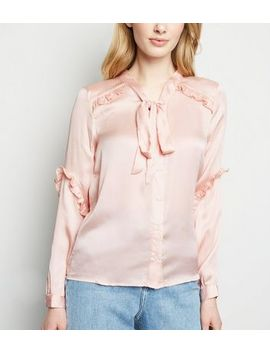 Brave Soul Pink Spot Ruffle Satin Blouse by New Look