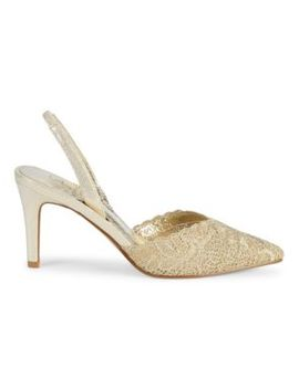 Helen Metallic Lace Slingback Pumps by Adrianna Papell