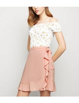 Pink Ruffle Front Wrap Mini Skirt by New Look