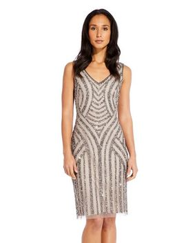 Sleeveless Sequin Beaded Cocktail Dress With V Neckline by Adrianna Papell