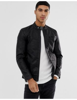 Only &Amp;Amp; Sons Faux Leather Racer Jacket In Black by Only &Amp; Sons