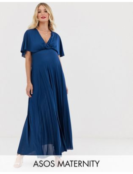 Asos Design Maternity Cape Back Detail Pleated Maxi Dress by Asos Design