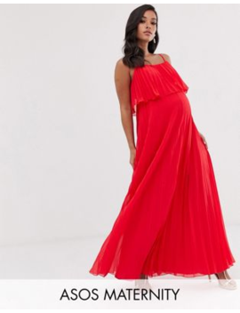 Asos Design Maternity Pleated Crop Top Maxi Dress by Asos Design