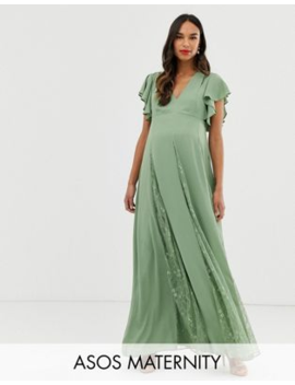 Asos Design Maternity Maxi Dress With Godet Lace Inserts by Asos Design
