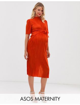 Asos Design Maternity Knot Front Plisse Midi Dress by Asos Design