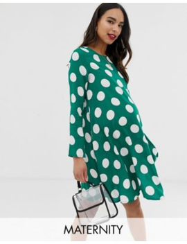 Glamorous Bloom Long Sleeve Shift Dress In Spot Print by Glamorous