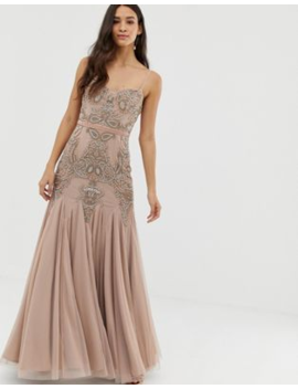 Dolly &Amp; Delicious Cami Embellished Maxi Dress With Fishtail In Mauve by Dolly Delicious