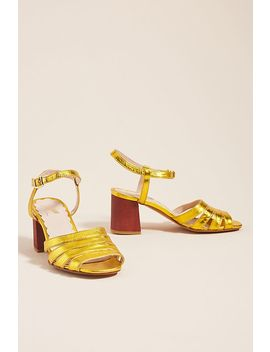 Miss L Fire Metallic Leather Heeled Sandals by Miss L Fire