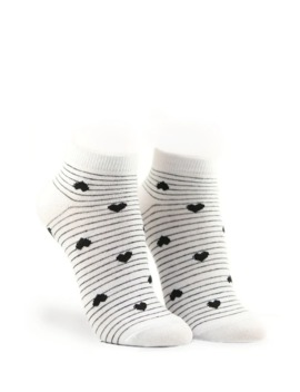 Striped Heart Print Ankle Socks by Forever 21