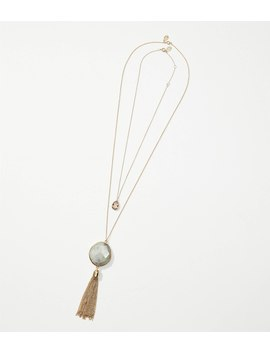 Layered Stone Tassel Pendant Necklace by Loft