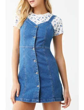 Denim Button Front Mini Dress by Forever 21