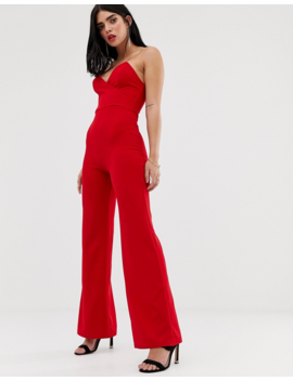 Club L Bandeau Jumpsuit With Boning In Red by Club L