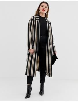 Asos Design Curve Stripe Duster Coat by Asos Design
